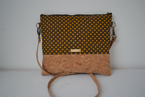 Cork and Brown/Mustard Fabric Cross Body bag with cork strap