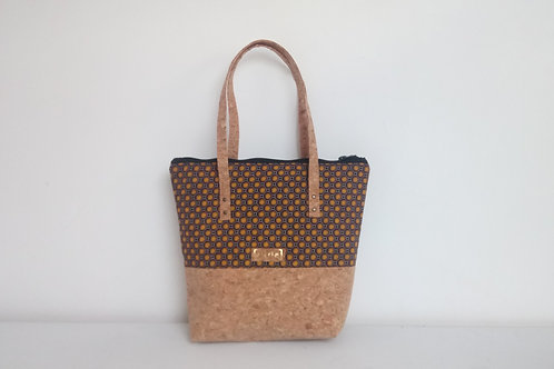Medium brown & mustard fabric and cork two tone tote bag with cork straps