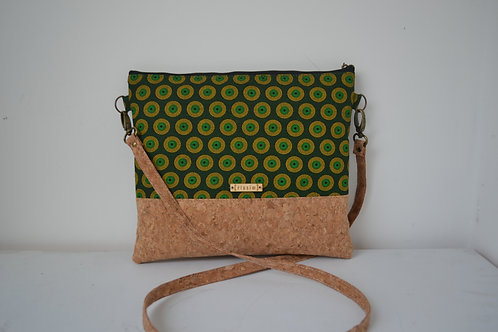 Cork and Green Fabric Cross Body bag with cork strap