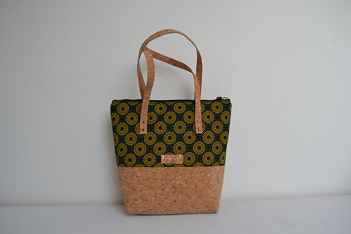 Green and yellow fabric and cork tote bag with cork straps