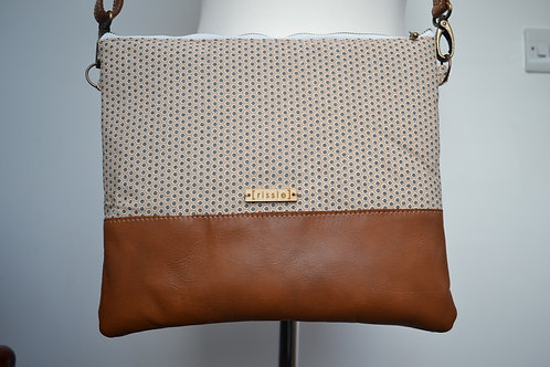 Genuine leather and white fabric crossbody bag