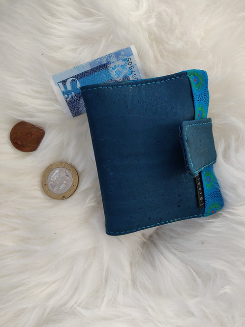 Polperro Midi Cork Leather Wallet in Teal