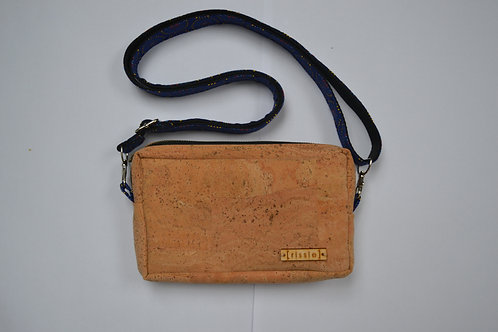 Natural cork crossbody bag with integrated coin, card and notes compartme