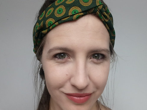 Green shweshwe fabric turban headband