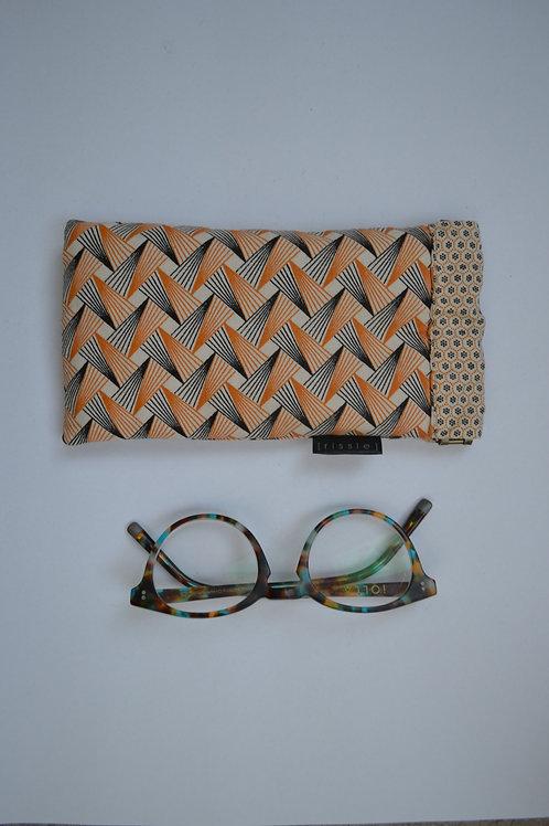 Beige fabric spring top glasses case