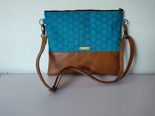 Genuine leather and turquoise fabric crossbody bag
