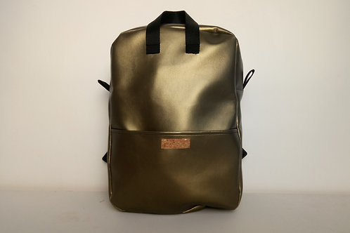 Metallic faux leather backpack with black webbing straps