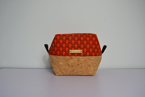 Orange fabric and cork fabric box shaped cosmetic bag