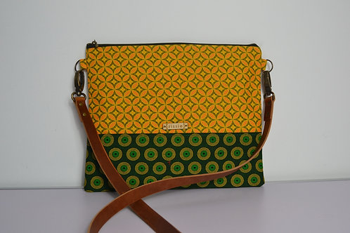 Yellow and Green Fabric Cross Body bag with brown leather strap