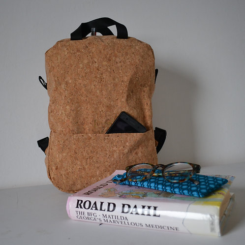 Cork fabric backpack with black webbing straps