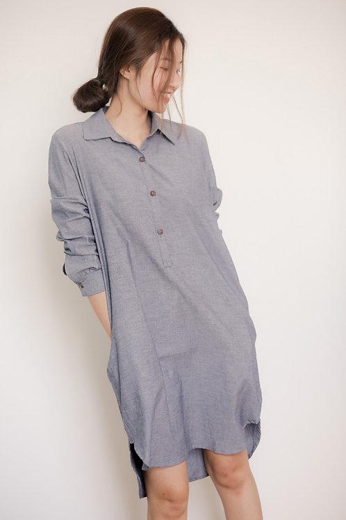 Wide cotton shirt dress