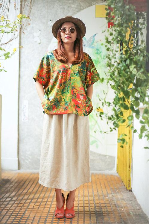 Premium linen midi skirt