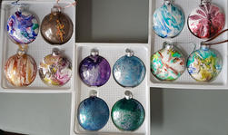 Variety of poured, glass Christmas Ornaments