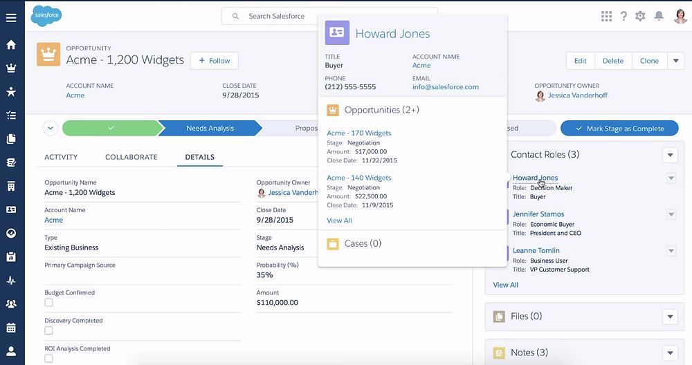 Salesforce screenshot example