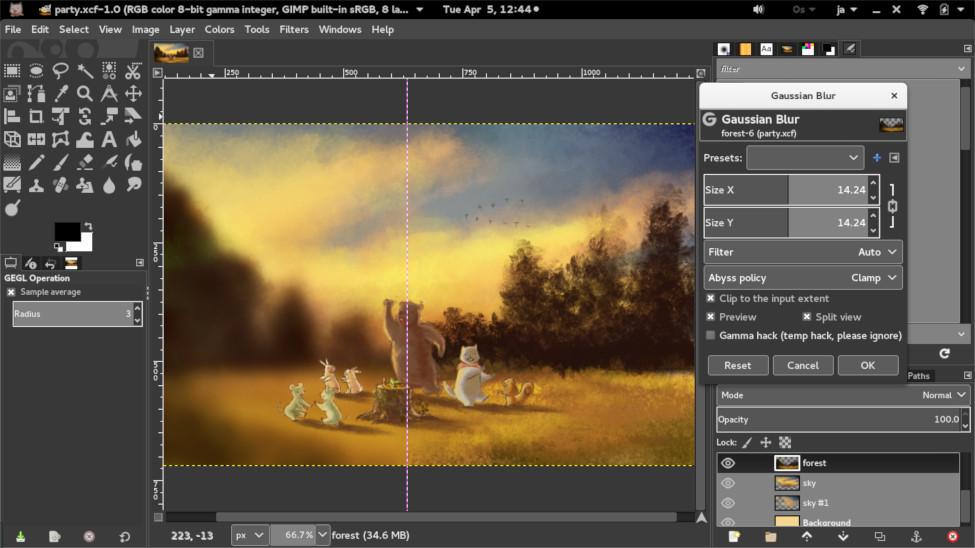 GIMP workspace demonstration screenshot