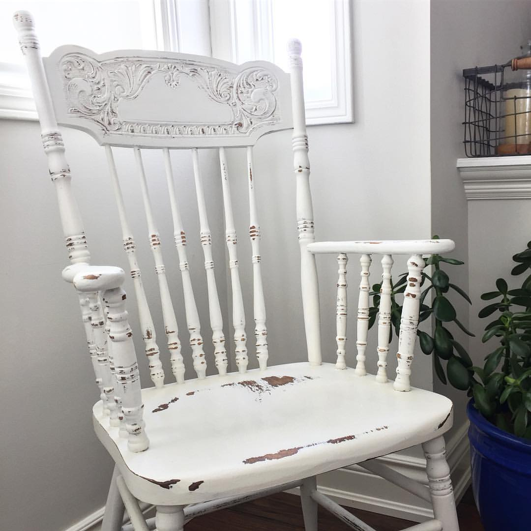 Distressed White Chair