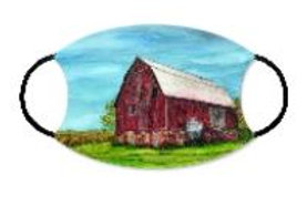 Face Mask with filter pocket-Red Barn