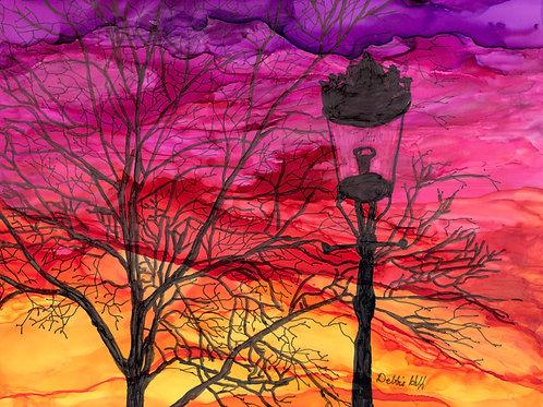 Street lamp at Sunset-Fine Art