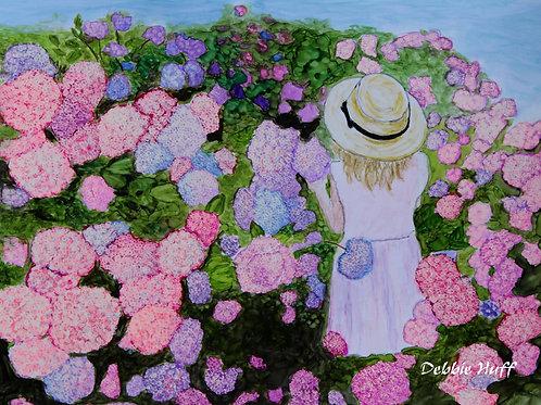 Girl in Flower Garden-Fine Art
