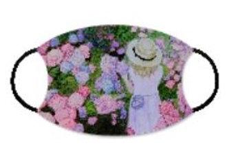 Face Mask w Filter Pocket-Girl in Garden