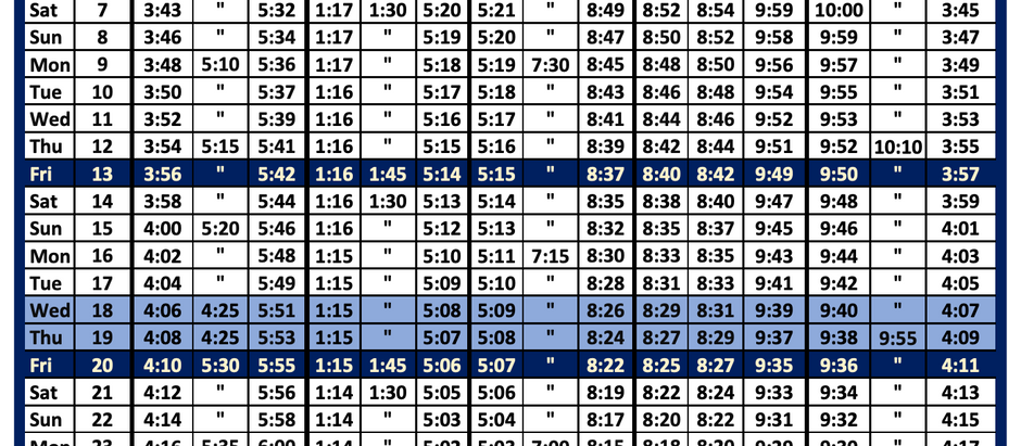 August 2021 Timetable