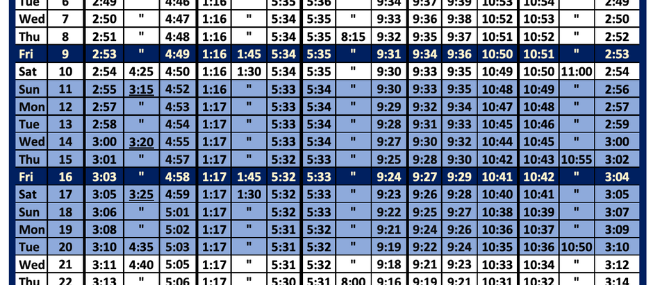 July 21 Timetable