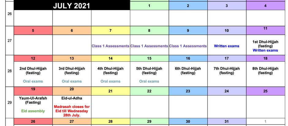 Exam & Holiday Schedule