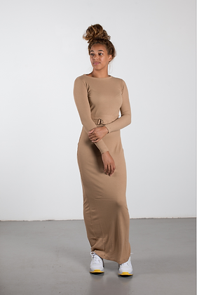 BODY CON DRESS camel