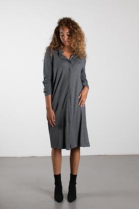 SHIRT DRESS mid grey melange