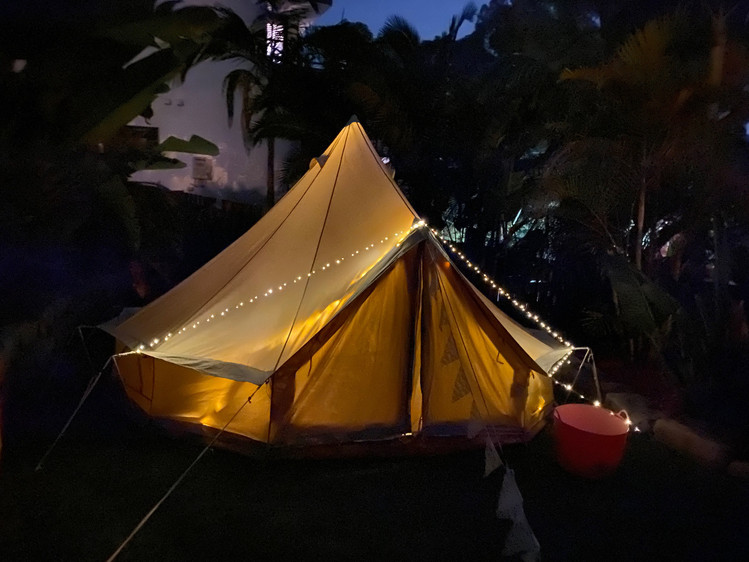 Backyard Glamping at Night