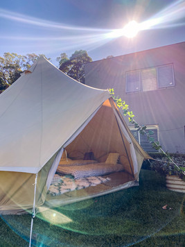 Glamping Bell Tent in the sun