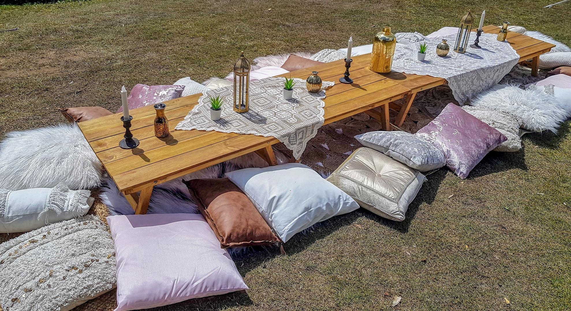 Boho picnic setup for 25