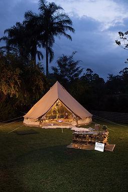 Backyard camp tent glamping