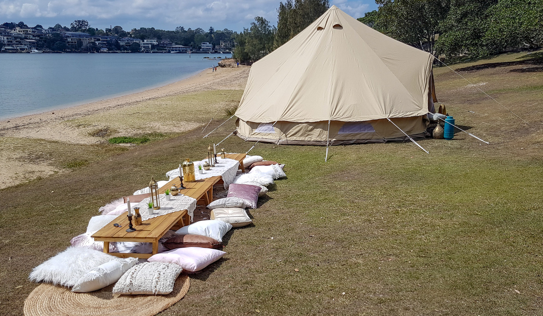 Double door tent and picnic for 25 in the park