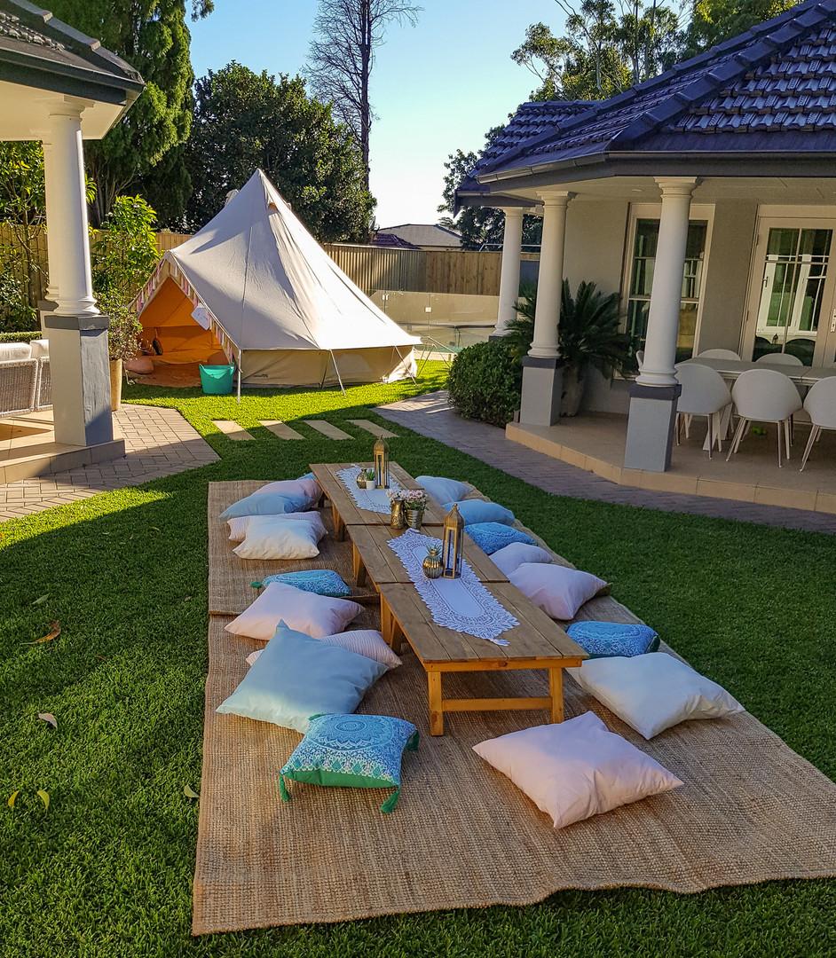 Picnic setup for 15 and tent