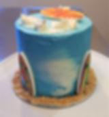 Surfboard cake vanilla buttercream