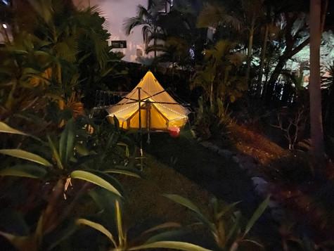 Backyard Glamping at Night