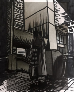 In the city, 2021 ; 21x27,5cm, marker on paper