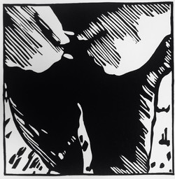 Ich kam her, um ein Bild zu malen, 2021; Black edition of 10 + 2AP, 25x31cm, linoprint