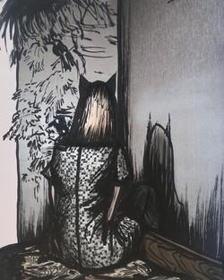 Moonlight in the bedroom, 2021. 21x27,5cm marker on paper