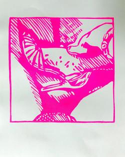 Pink night shots,2021; edition of 10 + 2AP, 25x31cm, linoprint