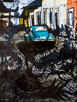 Benches in cars and bars, 20 ×26.5, 2018