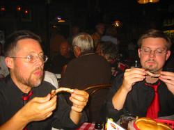 Enjoying ribs at Rendevous