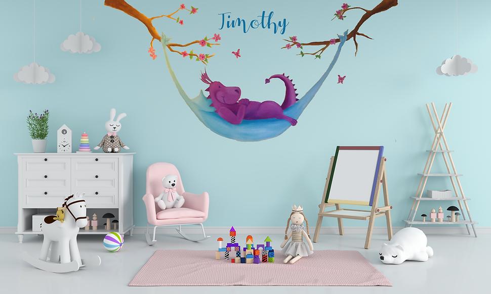 Muurschildering-kinderkamer-babykamer-met-naam-thema