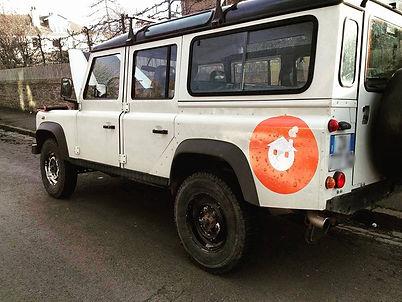 Our Land Rover Defender 110 Parked in Edinburgh