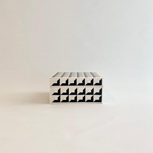 Black + White Geometric Inlay Box