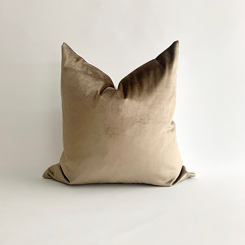 Warm Grey Velvet Cushion