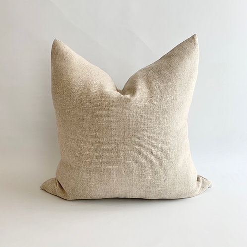 Beige and White Woven Cushion