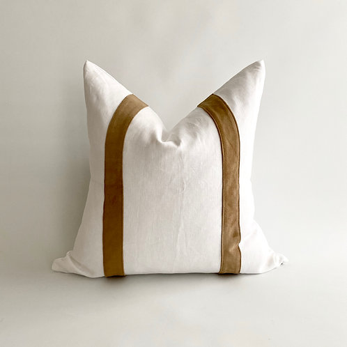 White Linen with Tan Leather Stripe Cushion