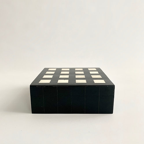 Black + White Square Inlay Box